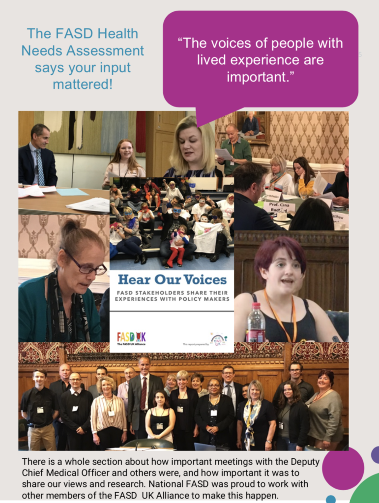 Collage of photos of people with FASD and families in meetings with policy makers