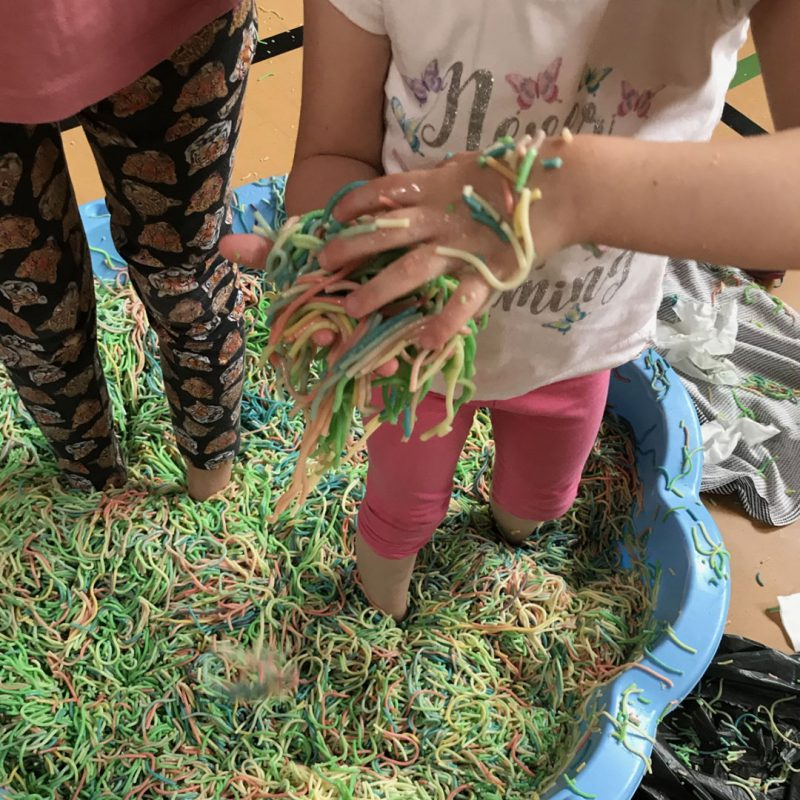 Children with FASD playing with sensory spaghetti